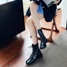 Square Toe Lace-up Boots