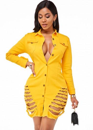 Cocktail Party Dress Long Sleeve Button Up Shredded Denim Dress - 2XL