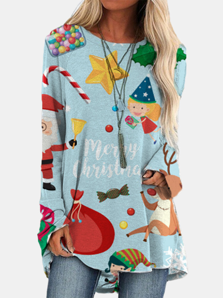 Cartoon Christmas Prints Long Sleeves O-neck Casual T-shirt For Women