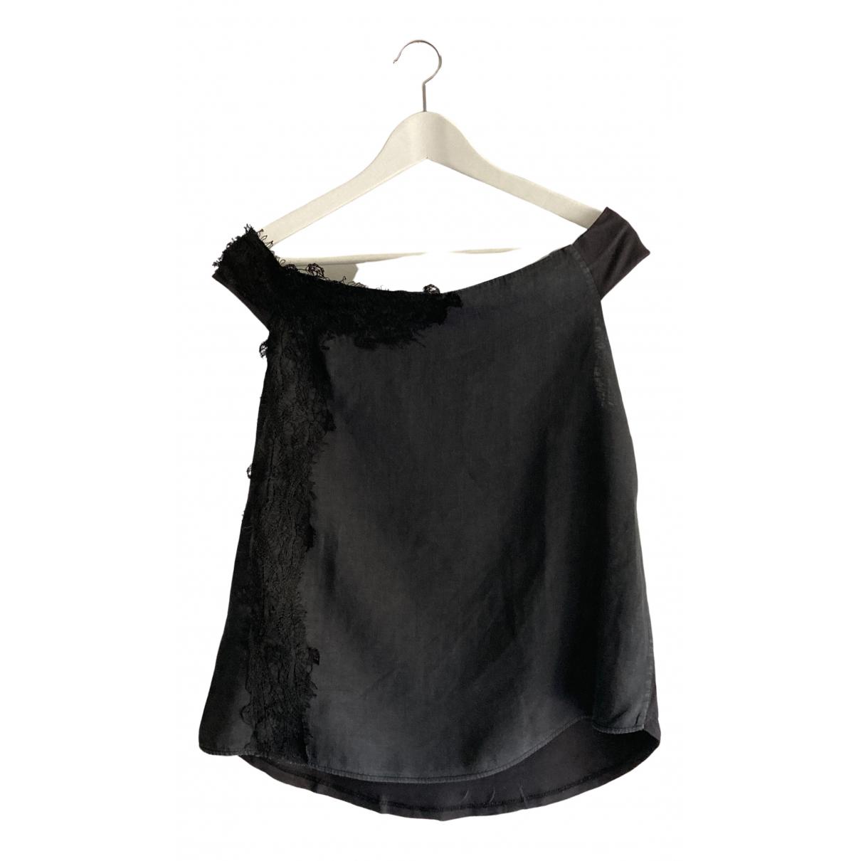 Adolfo Dominguez - Top   pour femme en lin - noir