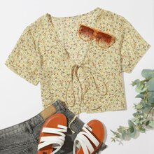 Ditsy Floral Tie Front Top