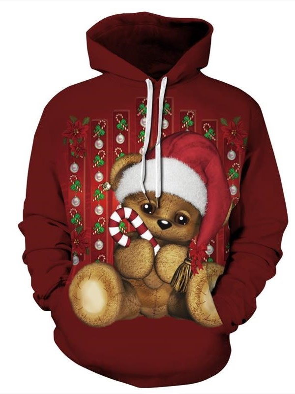 Christmas Tiny Bear Pattern 3D Painted Long Sleeve Hoodie