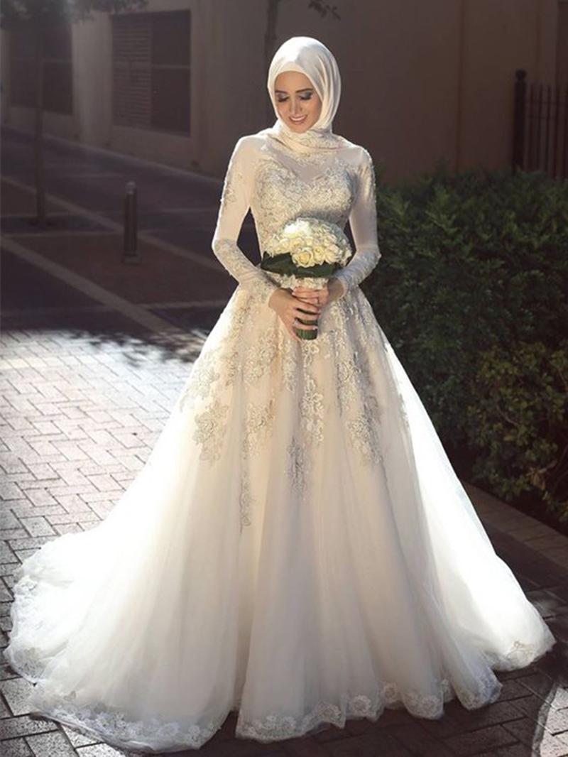 Ericdress Appliques A-Line Long Sleeves Muslim Wedding Dress