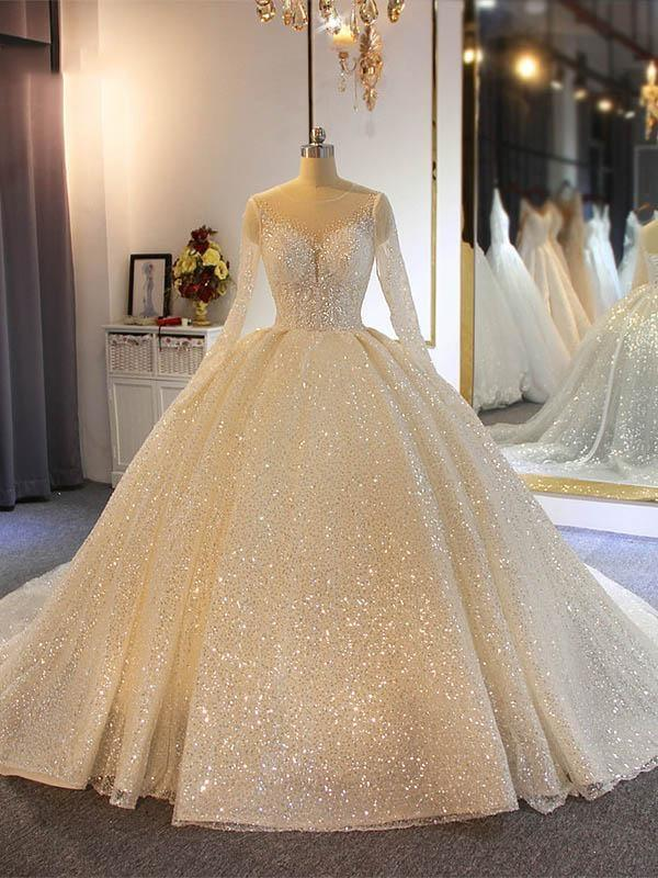 Sparkling Sequins Long Sleeve Ball Gown Wedding Dresses | Luxury Sheer Tulle Bridal Gowns