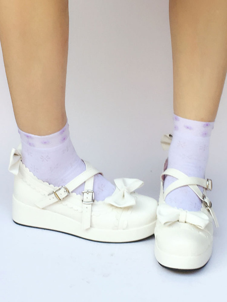 Milanoo Wedge Heel Platform PU Leather Lolita Shoes With Bow