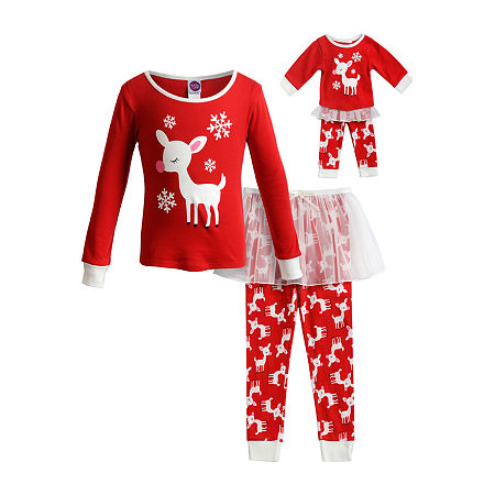 Dollie And Me Little & Big Girls 2-pc. Pant Pajama Set, 10 , Red