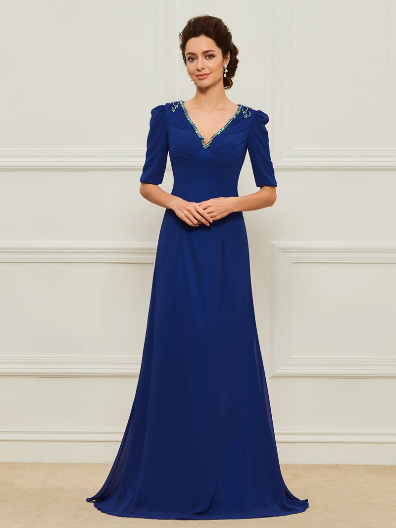 Ericdress V-Neck Beading Half Sleeves Mother of the Bride Dress