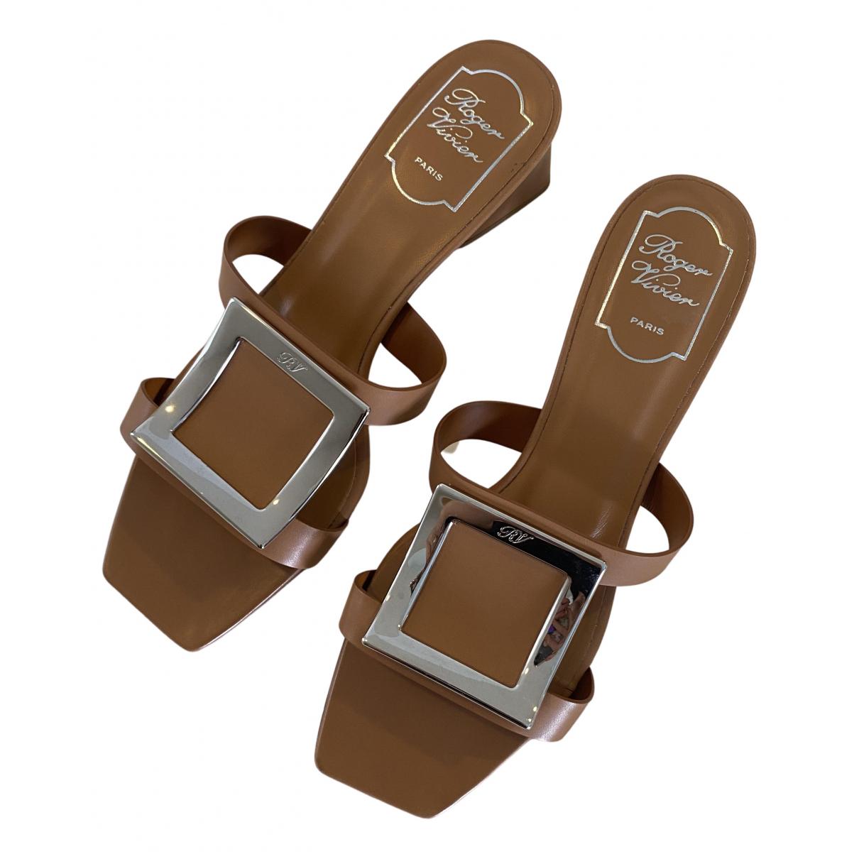 Roger Vivier N Brown Leather Sandals for Women 39 EU