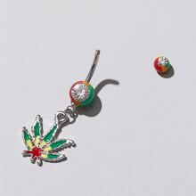 Colorful Leaf Charm Belly Ring