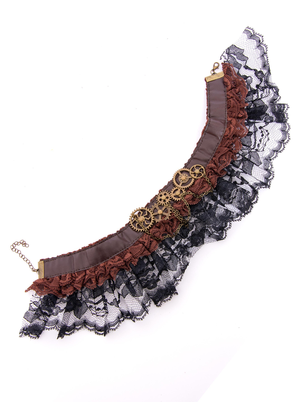 Kostuemzubehor Halsband Steampunk mit Spitze braun