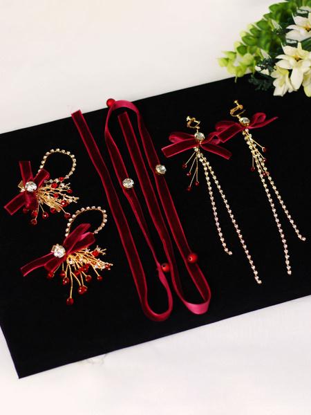 Milanoo Red Wedding Headpiece Headwear Earrings Bowknot Outfit Velvet Metal Hair Accessories For Bride