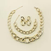 1 Paar Ohrringe mit Kette & 1 Stueck Halskette mit Kette & 1 Stueck Armband