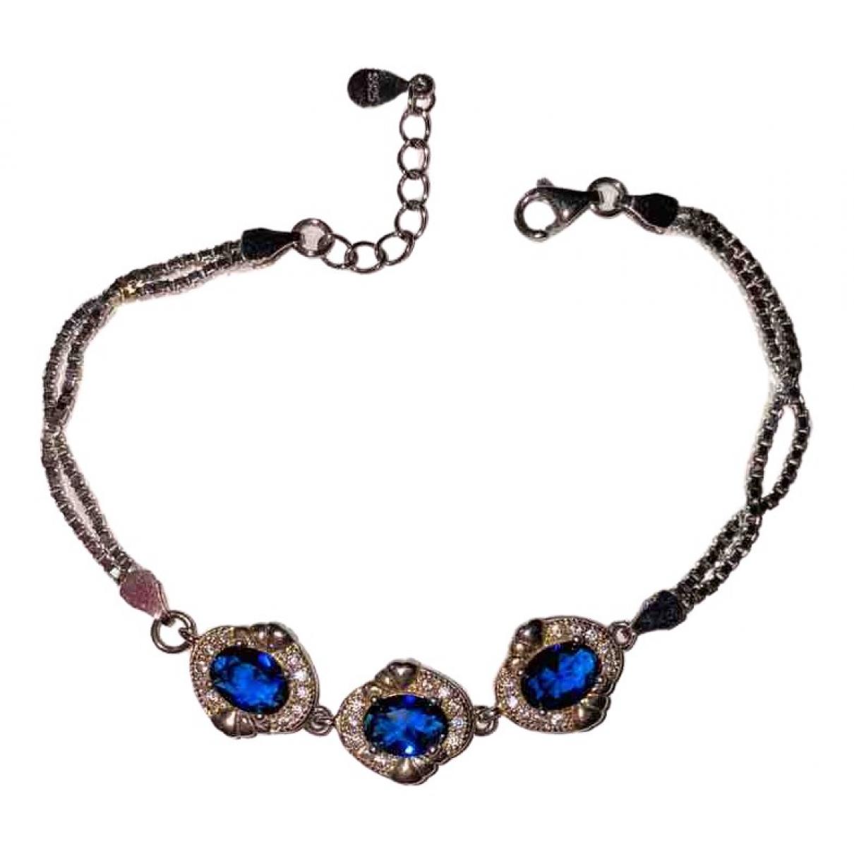 Non Signe / Unsigned Rubis Armband in  Blau Silber