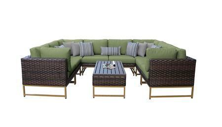 Barcelona BARCELONA-09c-GLD-CILANTRO 9-Piece Patio Set 9c with with 4 Corner Chairs  4 Armless Chairs and 1 Coffee Table - Beige and Cilantro Covers