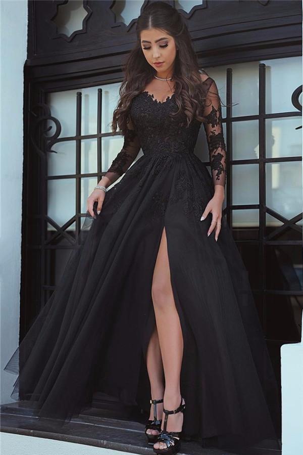 Gorgeous Black Long-Sleeve Lace Slit Evening Dress
