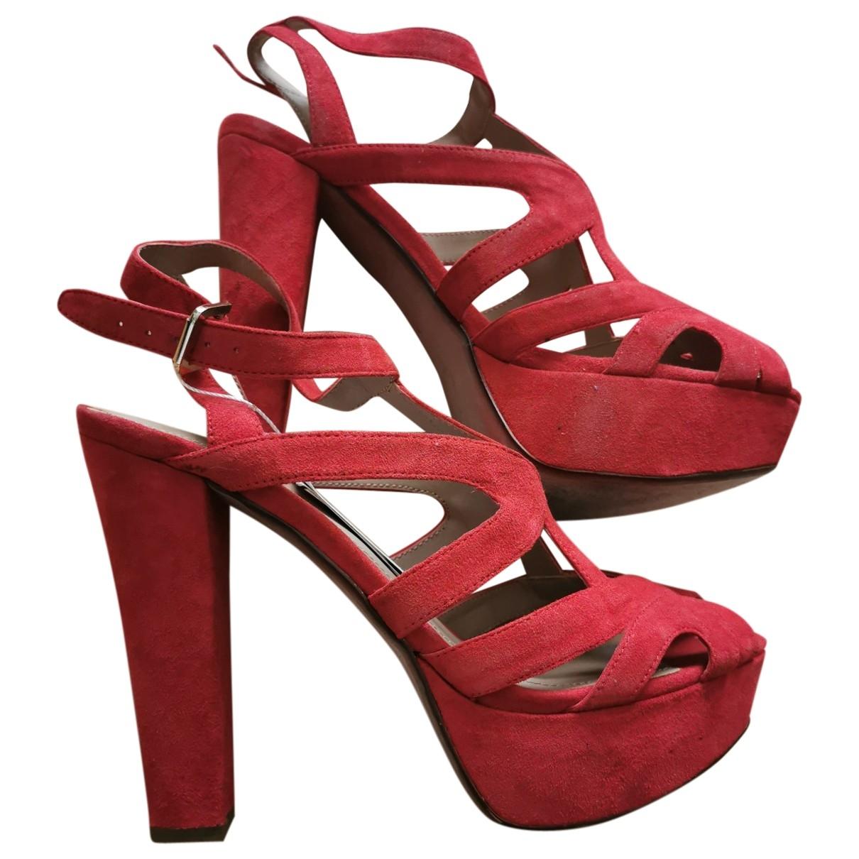 Zara \N Sandalen in  Rot Leder