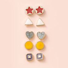 5pairs Girls Round & Triangle Stud Earrings