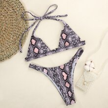 Snakeskin Triangle Thong Bikini Swimsuit