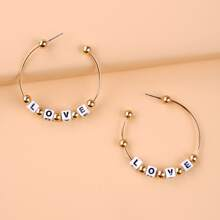 Letter Decor Cuff Hoop Earrings