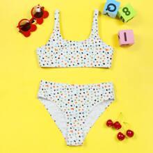 Bikini Badeanzug mit Terrazzo Muster