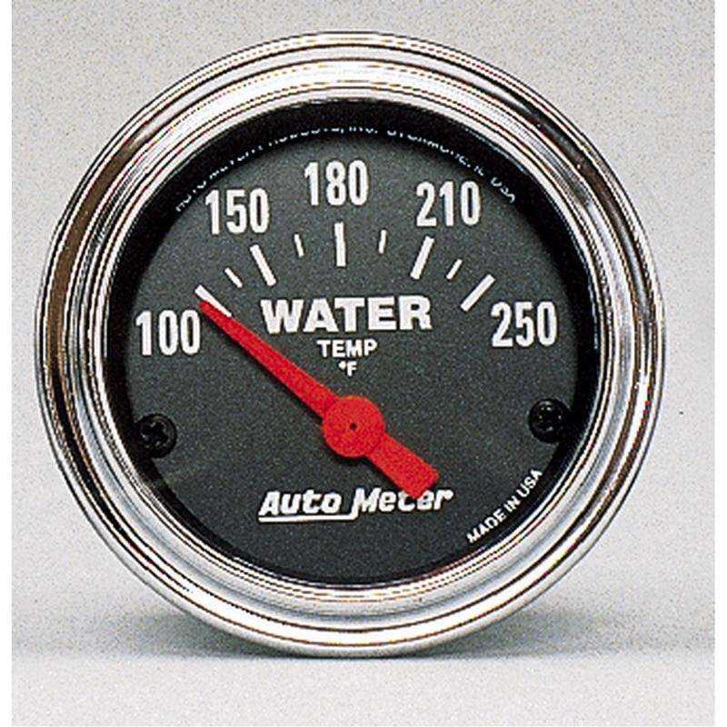 AutoMeter GAUGE; WATER TEMP; 2 1/16in.; 100-250deg.F; ELECTRIC; TRADITIONAL CHROME