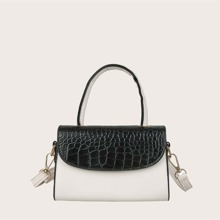 Girls Two Tone Croc Embossed Satchel Bag