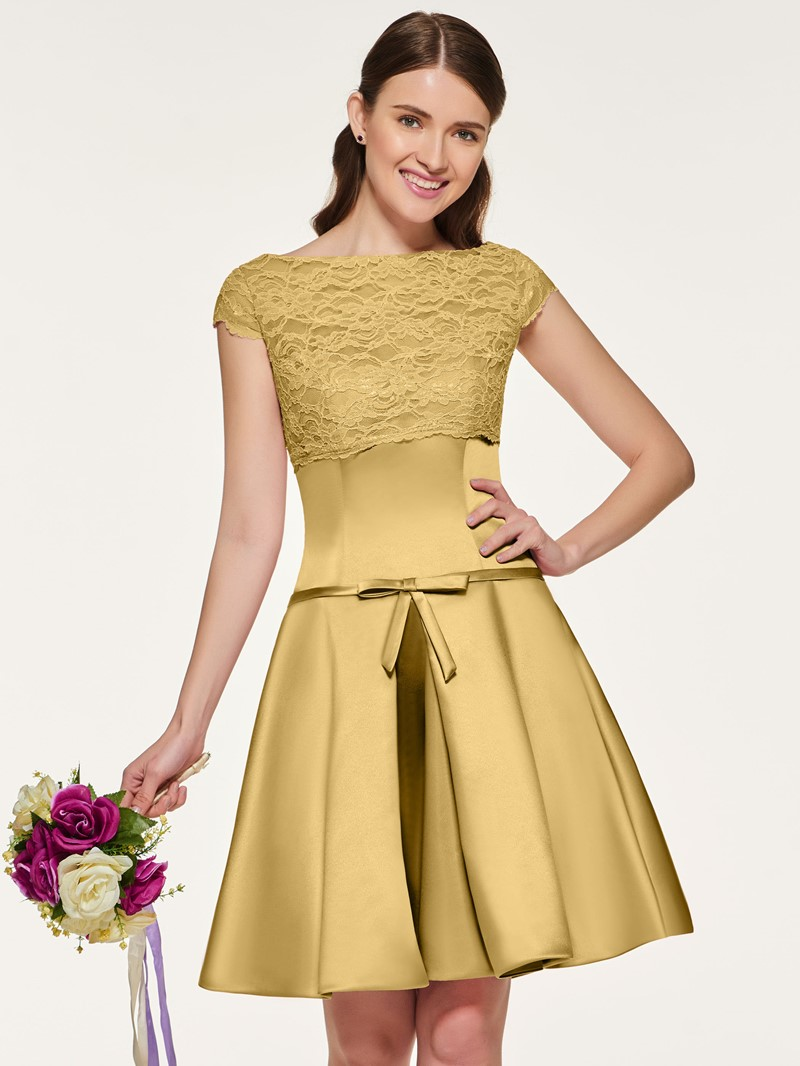 Ericdress Bateau Neck Lace Short Bridesmaid Dress