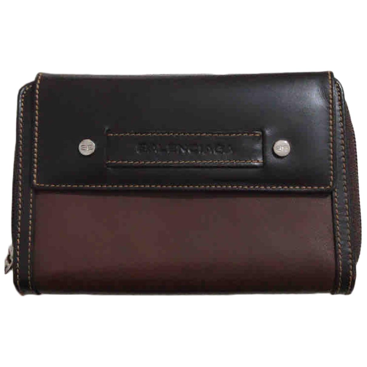 Balenciaga - Portefeuille   pour femme en cuir - marron