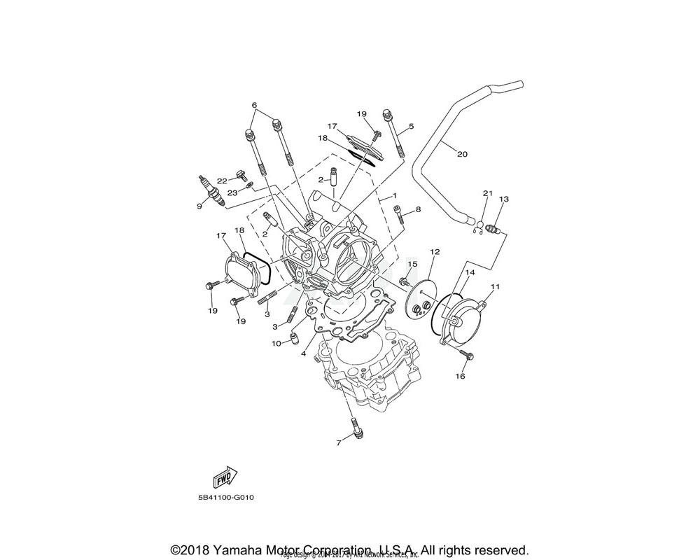 Yamaha OEM 5B4-11166-00-00 PIPE, BREATHER 1