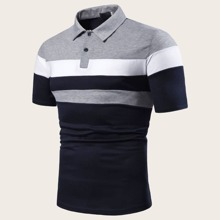 Maenner Polo Shirt mit Cut And Sew