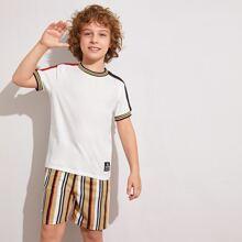 Jungen T-Shirt mit Streifen und Shorts Set mit Tasche
