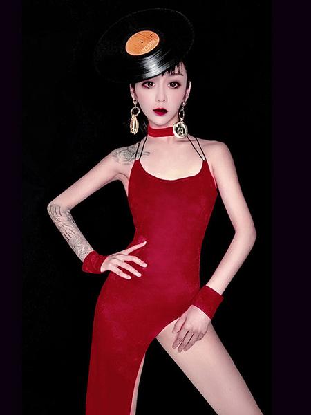 Milanoo Disfraz Halloween Traje de baile de jazz para mujer Vestido de tirantes sin espalda de poliester sin tirantes 4 piezas de ropa de baile Carnav