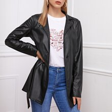 Single Button Lapel Collar Belted PU Leather Coat