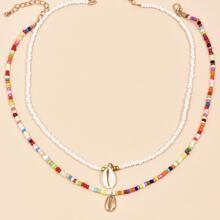 2pcs Shell Charm Beaded Necklace