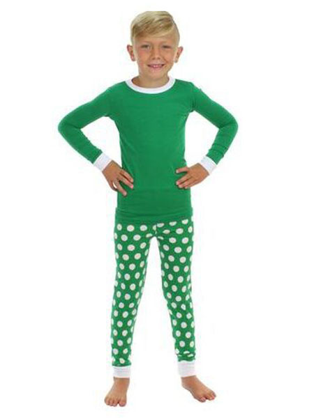Milanoo Disfraz Halloween Pijama de Navidad familiar Navidad para Navidad Invierno sets verde con Top de mezclado de algodon para chicos de algodon me