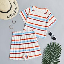 Striped Rib-knit Tee With Paperbag Shorts