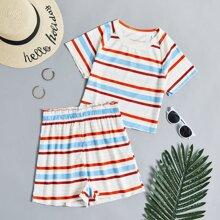 Outfit de dos piezas Canale A rayas Multicolor Casual