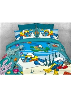 The Smurfs Exploring the Underwater World 4-Piece Bedding Sets/Duvet Covers