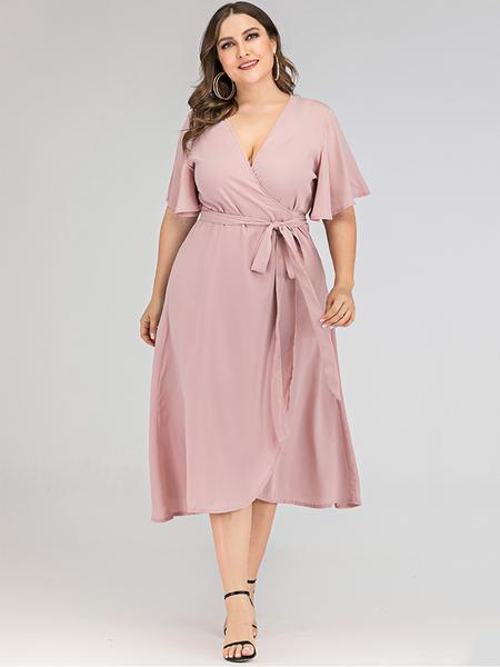 Yoins Plus Size Pink Belt Design V-neck Half Sleeves Dress