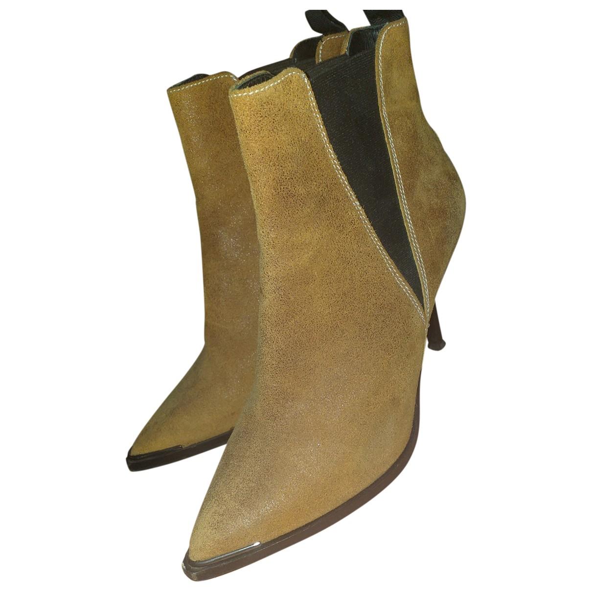 Acne Studios \N Ecru Suede Ankle boots for Women 37 EU