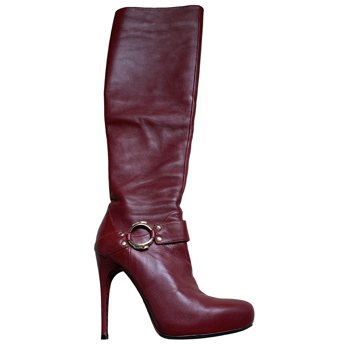 Cesare Paciotti \N Burgundy Leather Boots for Women 37 EU