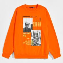 Neon Orange Pullover mit Buchstaben & Figur Grafik