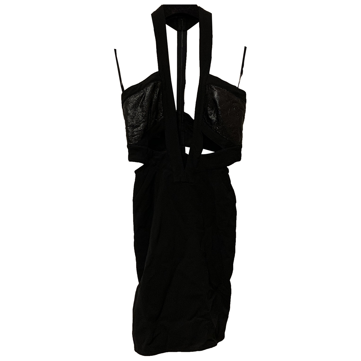 Anthony Vaccarello \N Kleid in  Schwarz Viskose