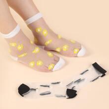 2 Paare Socken mit Grafik und Netzstoff