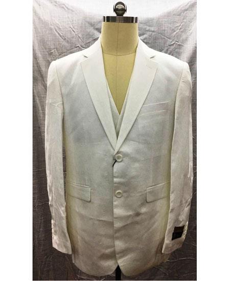 Men's White 2 Button Single Breasted Linen Vest Suit