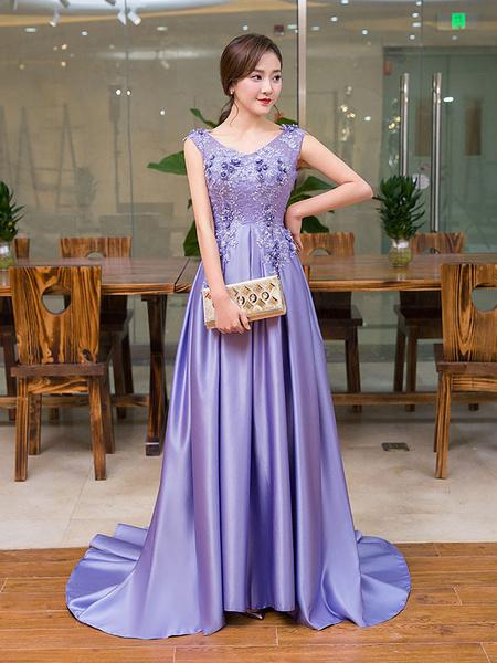 Milanoo Vestidos de noche largo violeta satinado encaje V cuello vestido de baile Applique con cuentas sin respaldo Vestidos formales con tren