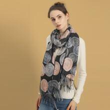 Schal mit rundem Muster und Fransen