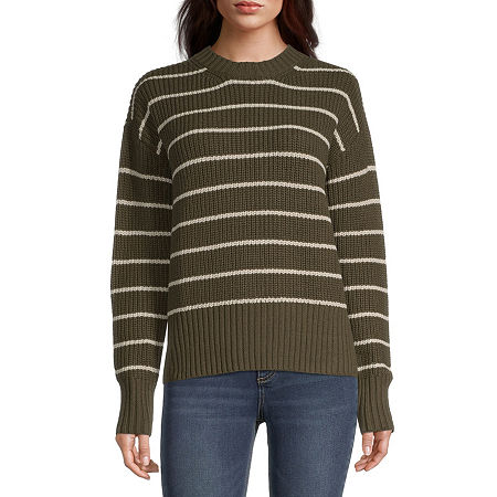 a.n.a Womens Crew Neck Striped Pullover Sweater, Petite Large , Green