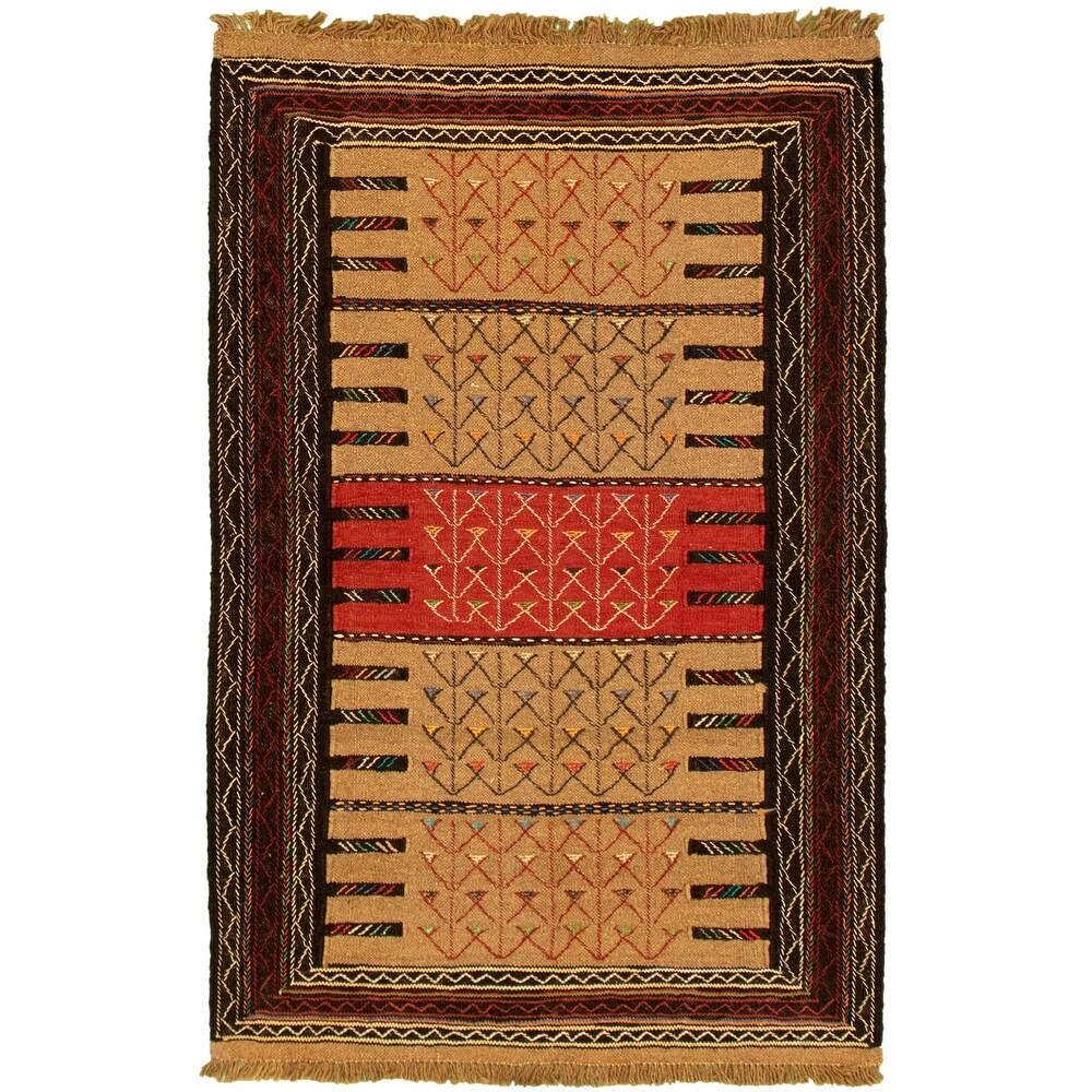 ECARPETGALLERY Flat-weave Ottoman Natura Tan Wool Kilim - 3'7 x 5'9 (Tan - 3'7 x 5'9)