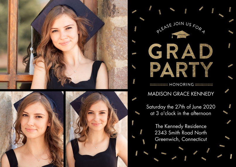 Graduation Invitations 5x7 Cards, Premium Cardstock 120lb with Rounded Corners, Card & Stationery -Grad Invite Sparkling Confetti by Tumbalina